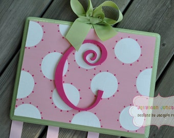 Bow Holder - Green and Pink SIMPLICITY Design -  Handpainted and Personalized Hair Bow Holder