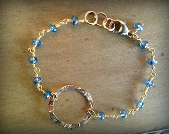 Blue Topaz Beaded Bracelet with Textured Gold Focal Circle