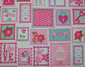 Red Lovey Stamps Fabric by the Yard Love Dovey Collection Doodlebug Design Riley Blake Designs