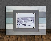 Frame 8X10 BIG 17x24 Distressed with Seafoam, Gray and White Planks
