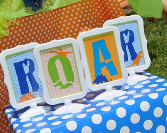 Dinosaur Birthday 4x6 Signs ROAR, Boys 1st Birthday Party, Dinosaur Theme Birthday Party, Dinosaur Birthday Party Decorations
