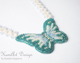 Butterfly necklace, blue bead embroidery pendant, gift for girl, kids jewellery