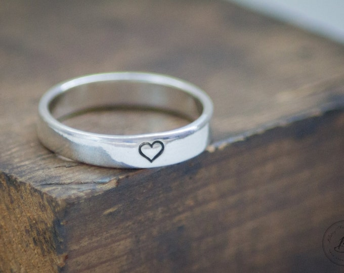 Simple Heart Hand Stamped Ring - Sterling Silver - Customizable - Minimalist