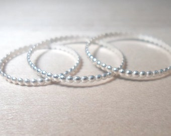 Silver Bead Ring, Sterling Silver Bead Stacking Rings-Round beaded rings- Sterling silver set of bead rings