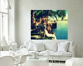 beach decor art SUMMERTIME Coastal art deco beach decor Coastal decor photo tropical decor art old Florida art beach art  vintage art 1930