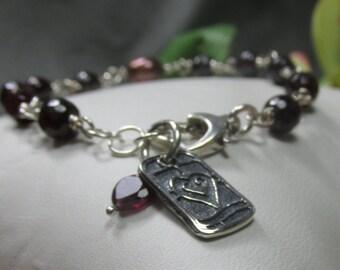 Garnet Love Bracelet in Sterling Silver