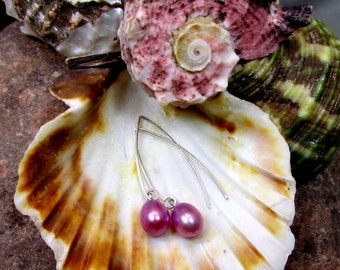 Light Rose Tear Drop Pearl and Sterling Silver