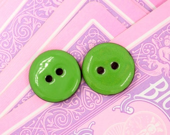 Pink Buttons - 10 Pieces Of Retro Green Enamel Buttons With Coconut Base. 0.71 inch