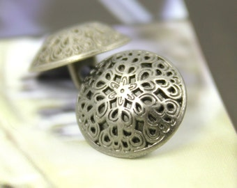 Metal Buttons - Leaf Vines Metal Buttons , Nickel Silver Color , Shank , 0.59 inch , 10 pcs