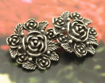 Metal Buttons - Bouquet Metal Buttons , Retro Silver Color , Shank , 1 inch , 2 pcs
