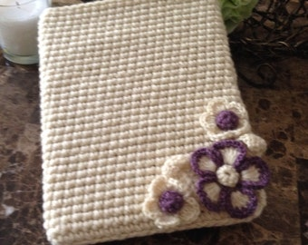 Gorgeous iPad case for women, girls iPad case, crochet iPad case with flowers, gifts for her READY to ship