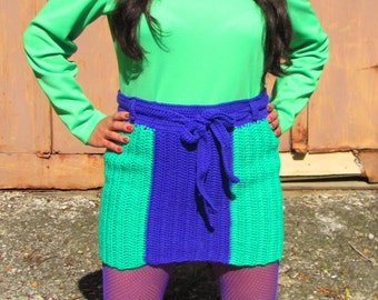 Handmade Crochet Pencil Skirt 60s Mod Emerald Green Purple Violet Striped Skirt 70s Funky Womens Small Petite Size S/XS Fall Winter Fashion