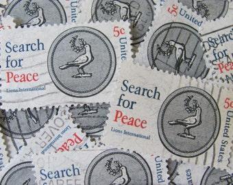 Lions International 30 Vintage US Postage Stamps Search for Peace 5-Cent Black Grey Gray Scrapbooking Ephemera Dove Laurel Branch Greek Myth