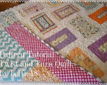 Twist and Turn Quilt Pattern Tutorial  pdf. Use a Jelly Roll