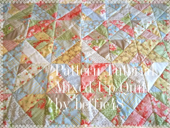 Mixed UP Quilt Pattern Tutorial, Uses a Jelly Roll, Instant Download, pdf.