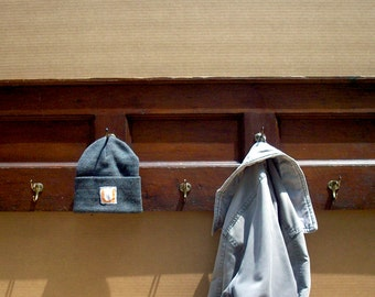 Vintage Reclaimed Coat Rack / Old Paneled Wood with 5 Brass Hooks / Distressed Original Varnish Finish / Dark Wood