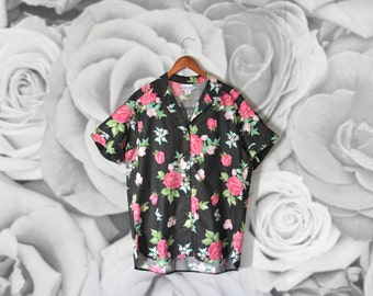 Vintage 90's floral blouse short sleeves