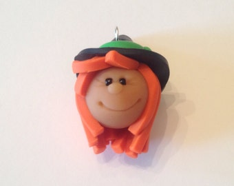 Polymer Clay Witch Pendant Large Charm