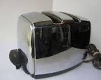 Art DECO Chrome 1950's TOASTER Sunbeam T20B Radiant Automatic Toaster with Bakelite Knob vgc Original Cloth Cord Vintage Kitchen Appliance