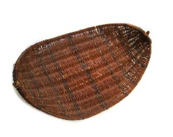 Vintage Native American Winnowing Basket Tray Sieve - Swan Creek Black River Chippewa Tribe