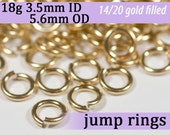 18g 3.5mm ID 5.6mm OD gold filled jump rings -- 18g3.50 goldfill jumprings 14k goldfilled