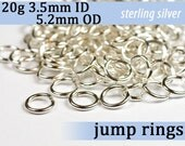 20g 3.5mm ID 5.2mm OD sterling silver 925 jump rings -- 20g3.50 open jumprings jewelry findings supplies links
