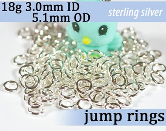 18g 3.0mm ID 5.1mm OD sterling silver jump rings 925 -- 18g3.00 open jumprings jewelry supplies findings links