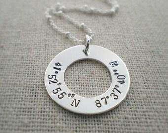 latitude longitude coordinates washer necklace | location necklace | gps round tag | birthplace stamped on pendant | engraved necklace