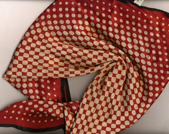SALE Optical Illusion Silk Scarf Ann Taylor burgundy beige