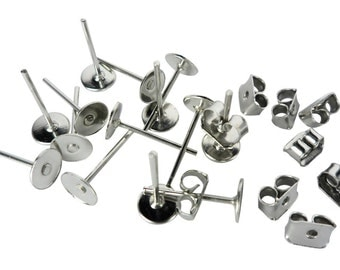 Stainless Steel Earrings Pin Piercing Post Back Lock Butterfly Stud Jewellery Making Pad 100 Pieces