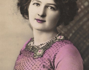 Beautiful Woman in Beaded, Art Nouveau, Bodice. circa 1910