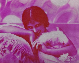 Hot Pink Pillow Fight. Art Deco Flapper Will Not Share. by P-C Paris, circa 1920s