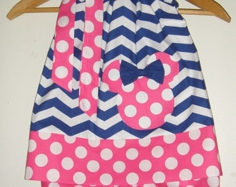 Minnie PINK white and blue chevron BLOOMERS  & pillowcase dress appliqued Disney clothing  (sizes 1t to 4t)