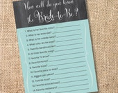 Chalkboard Teal & Gray Printable How Well Do You Know The Bride Game - INSTANT DOWLOAD