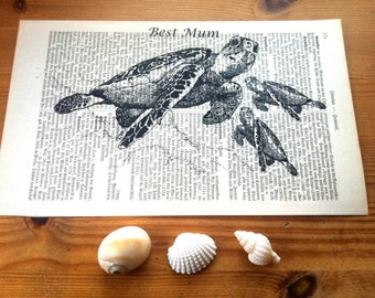 Mothers day | Gift for Mom | Seaturtle Baby Shower Gift | Gift for Her | Book Art | Gift for Wife | Nursery Wall Art | Mothers Day Gift