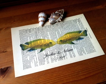 Yellow Fish Love Wedding Anniversary Engagement Valentine Gift Personalized Art Print on Antique 1896 Dictionary Book Page