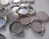 Jewelry Connector Bezels Settings in Antiqued Silver Tone, 15mm Tray, 26mm Long, 10 Pieces, For Glass Domes, DIY Jewelry