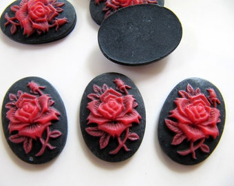 25mm Resin Cameo Cabochon in Black and Red with Gothic Style Rose Design, 25mm x 18mm Oval, 3pcs, Flat Back, Glue On Cabochon, DIY Jewelry