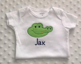 Baby Boy  Personalized Alligator Bodysuit