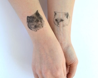 cat tattoo temporary tattoo - ONE - 1 single fake cat tatt - 7designs to choose from - realistic tattoo - mix and match - cattoos