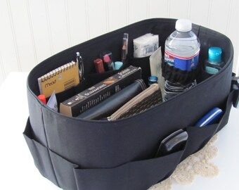 TALL Purse Insert ORGANIZER  Shaper Black Canvas w/ Vinyl Bottom, Bottle Straps ..  . Strong/Durable ...6 Tall sizes available