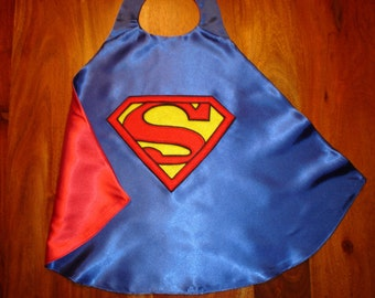 Superman Cape / Super Hero Cape / Childrens Cape / Authentic Superman Cape / Girls / Boys / Reversible Cape