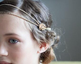 Gold tone Bridal Headpiece -  Gold head chain - Art Deco style wedding Headpiece-  gold Forehead Chain -UK