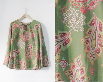 Paisley Pistachio Pink Summer Shirt Dress