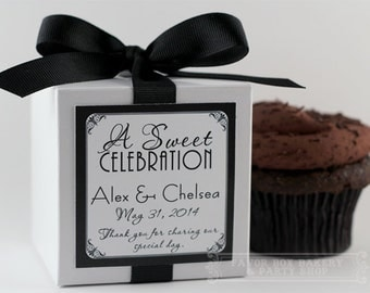 GATSBY GLAM...One Dozen Personalized Cupcake Mix Party Favors for Showers, Engagement Parties, Couple Showers, and Weddings