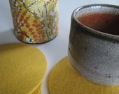 Lemon Yellow Felt Drink Coaster Set, Yellow Drinks Coasters, Fabric Coasters, Beverage Coasters