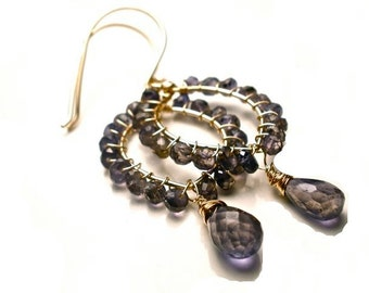 Wire Wrapped Iolite and 14k Gold Filled Chandelier Earrings - Iolite Earrings - Iolite Jewelry - Water Sapphire Jewelry