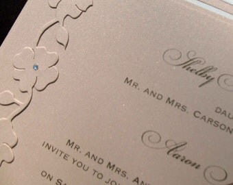 Fifth Avenue Collection Invitation Suite - FA201402 -  Nude Shimmer vintage-inspired floral edging with Swarovski Crystals