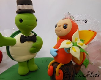 Custom Wedding Cake Topper--Love Turtle & Butterfly with Sweet Log and Grass Base