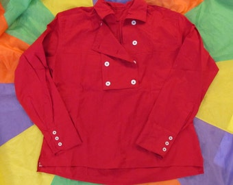 Woman's Monkees style Large Red 8 button Bib Front Shirt